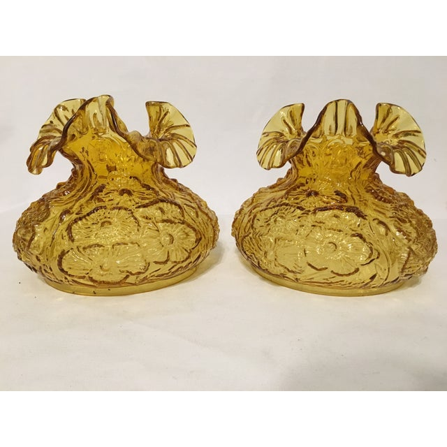 Image of Fenton Amber Poppy Glass Lamp Shades- A Pair