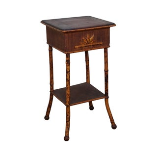 Antique Burnt Bamboo Rattan Lift Top Side Table