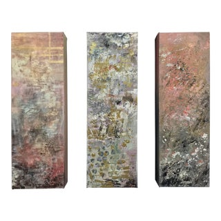 Acrylic & Gold Abstract Paintings - Set of 3