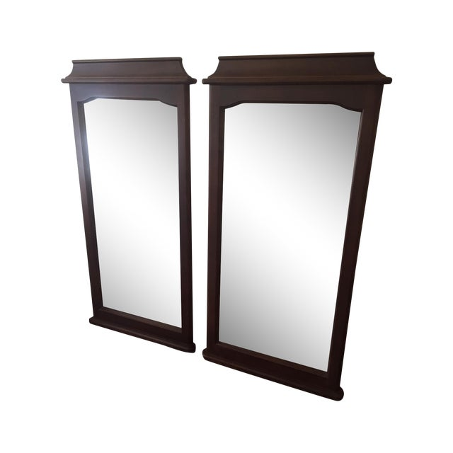 Asian style wooden mirrors a pair chairish for Asian style mirror