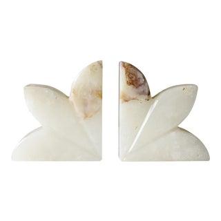 Vintage Marble Leaf Bookends Mid Century