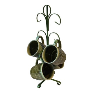 Set of 4 Green Mid-Century Modern Japanese Mugs & Stand
