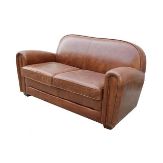 Paris Club Brown Leather Love Seat Sofa