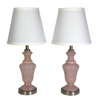 Vintage Pair of Pink Murano Lamps
