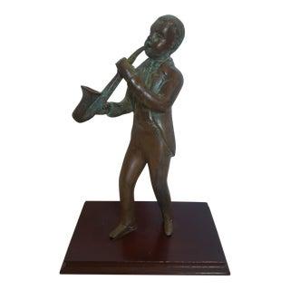 Bronze Saxophone Player Figure