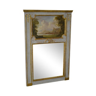 French Louis XVI Style Hand Painted & Partial Gilt Trumeau Mirror