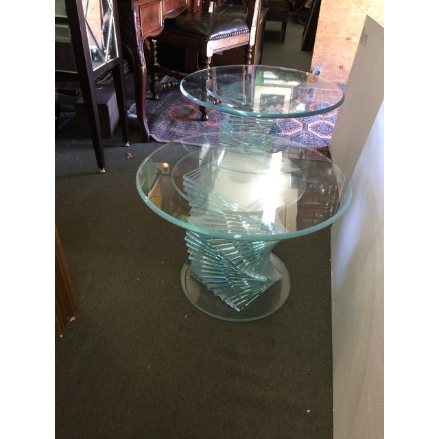 Image of Glass Spiral Side Tables - A Pair
