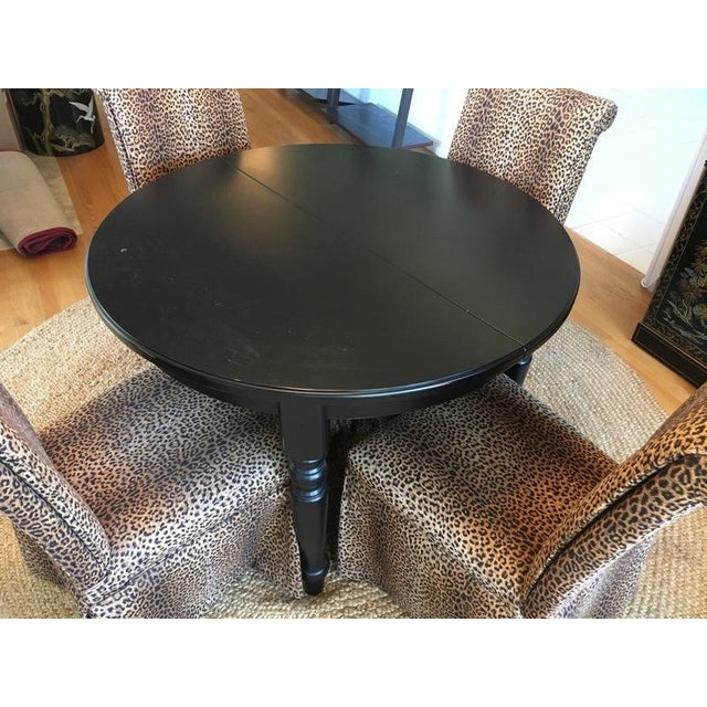 Group of Four Leopard Print Upholstered Side Chairs & Table - Image 3 of 9