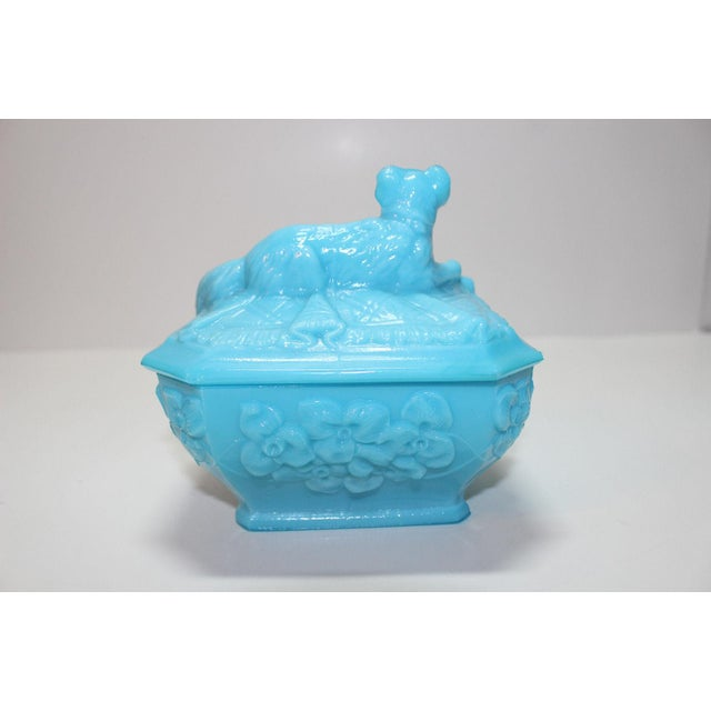 French Portieux Vallersthal Blue Opaline Box - Image 9 of 11