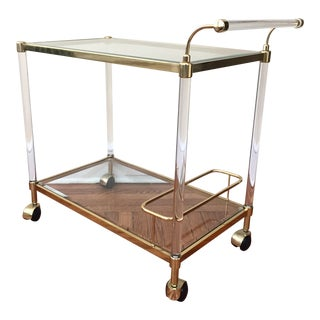 Modern Brass & Lucite Bar Cart