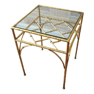 Jonathan Adler Faux Bamboo Gold Glass Top Table