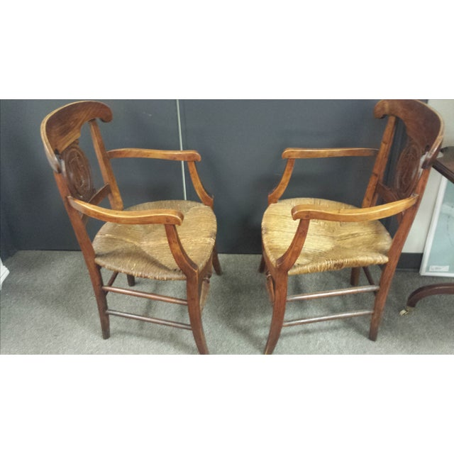 Antique French Lyre Back Armchairs - A Pair - Image 4 of 11