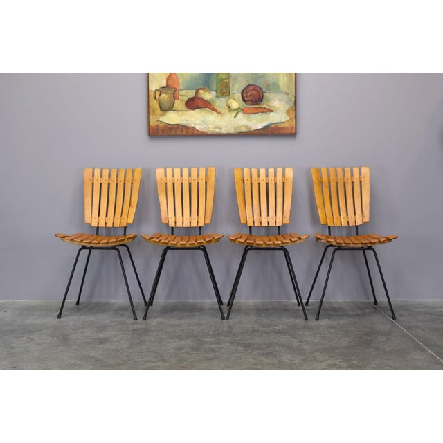 Arthur Umanoff Raymor Mid-Century Slat Chairs, Set/4 - Image 2 of 9