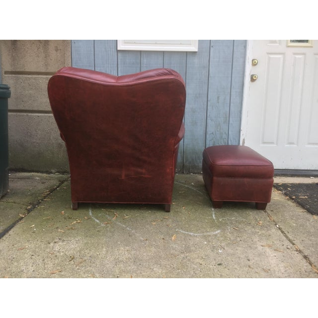 Art Deco Style Vintage Leather Chair & Ottoman - Image 5 of 9