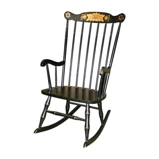 Vintage Black & Gold Wood Rocking Chair