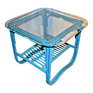 Turquoise Rattan Side Table With Glass Top