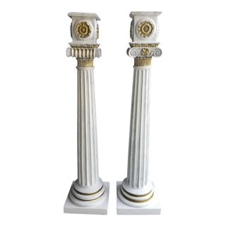 1920s White Wooden Column Planters - a Pair -