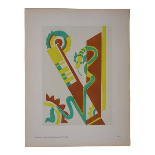 1928 Serge Gladky Ltd. Ed. Pochoir Print - Abstracted Serpents
