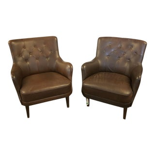 Brown Tufted Vintage Club Chairs - A Pair