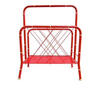 Vintage Red & Gold Faux Bamboo Magazine Rack