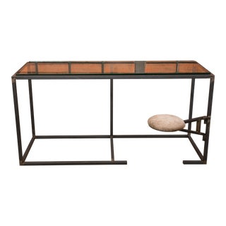 Industrial Desk With Integrated Seat