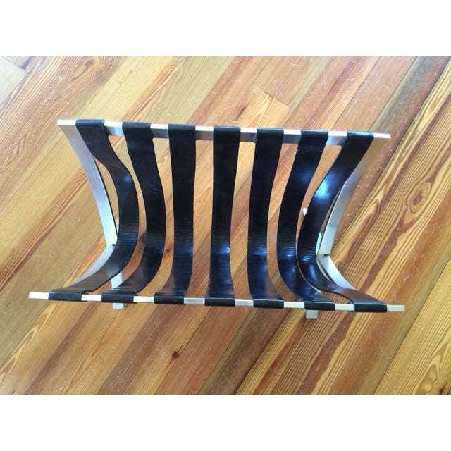 Image of Metal & Black Leather Strap Folding Magazine Rack