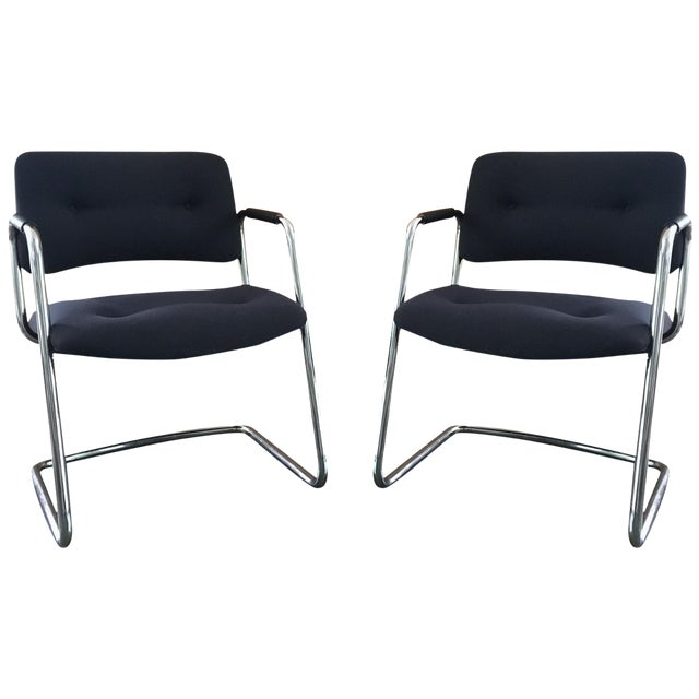 Mid-Century Cantilever Chrome Armchairs - A Pair - Image 1 of 9