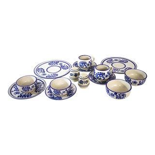 Vintage Mexican Glazed Stoneware China Serving Set