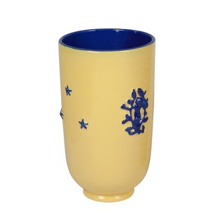 Yellow and Cobalt Ceramic Vase, French 1950s