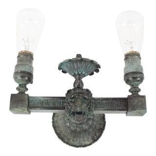 Brass Verdigris Lion Head Sconces (Pair)