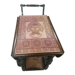 Mid-Century Modern Aztec Mayan Bar Cart