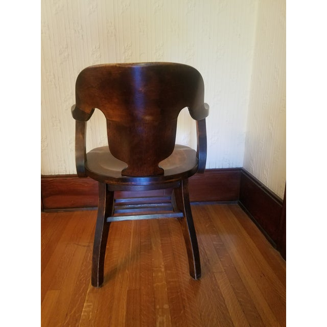 Vintage Restored Wooden Office Chair - Image 4 of 9