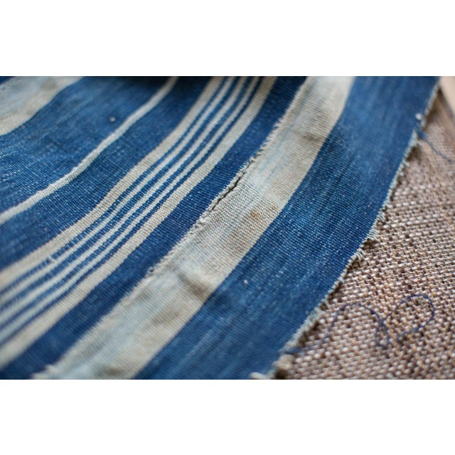 Vintage Hand Woven Indigo Stripe Throw - Image 7 of 7