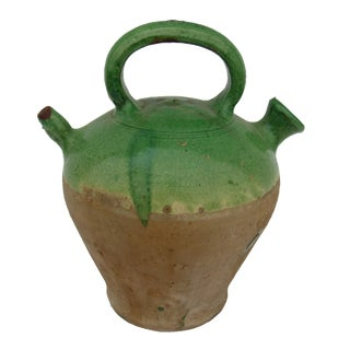 French Green Drip Glazed Antique Pitcher