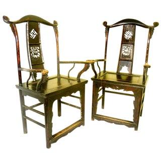 Circa 1800-1849 Chinese High Back Arm Chairs - A Pair