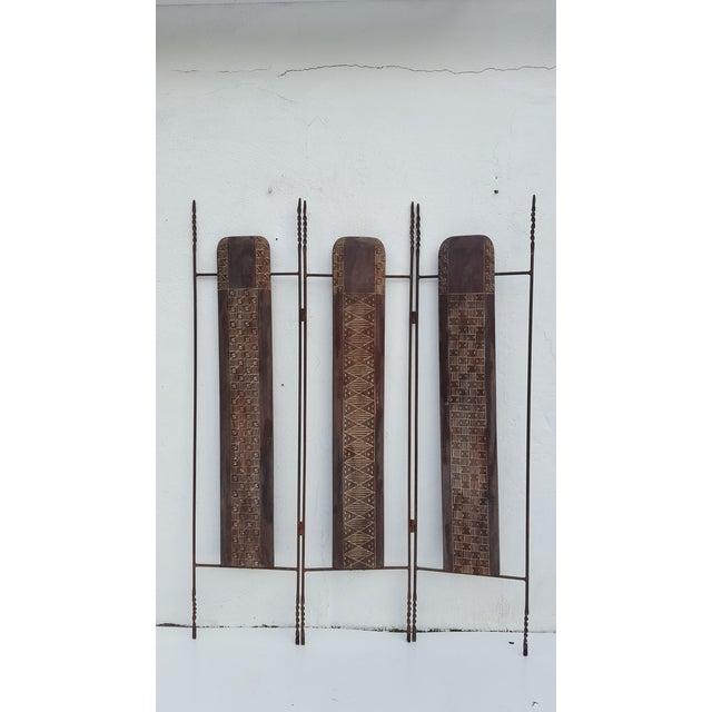 Vintage Metal & Carved Wood Panels Room Divider Screen - Image 3 of 9