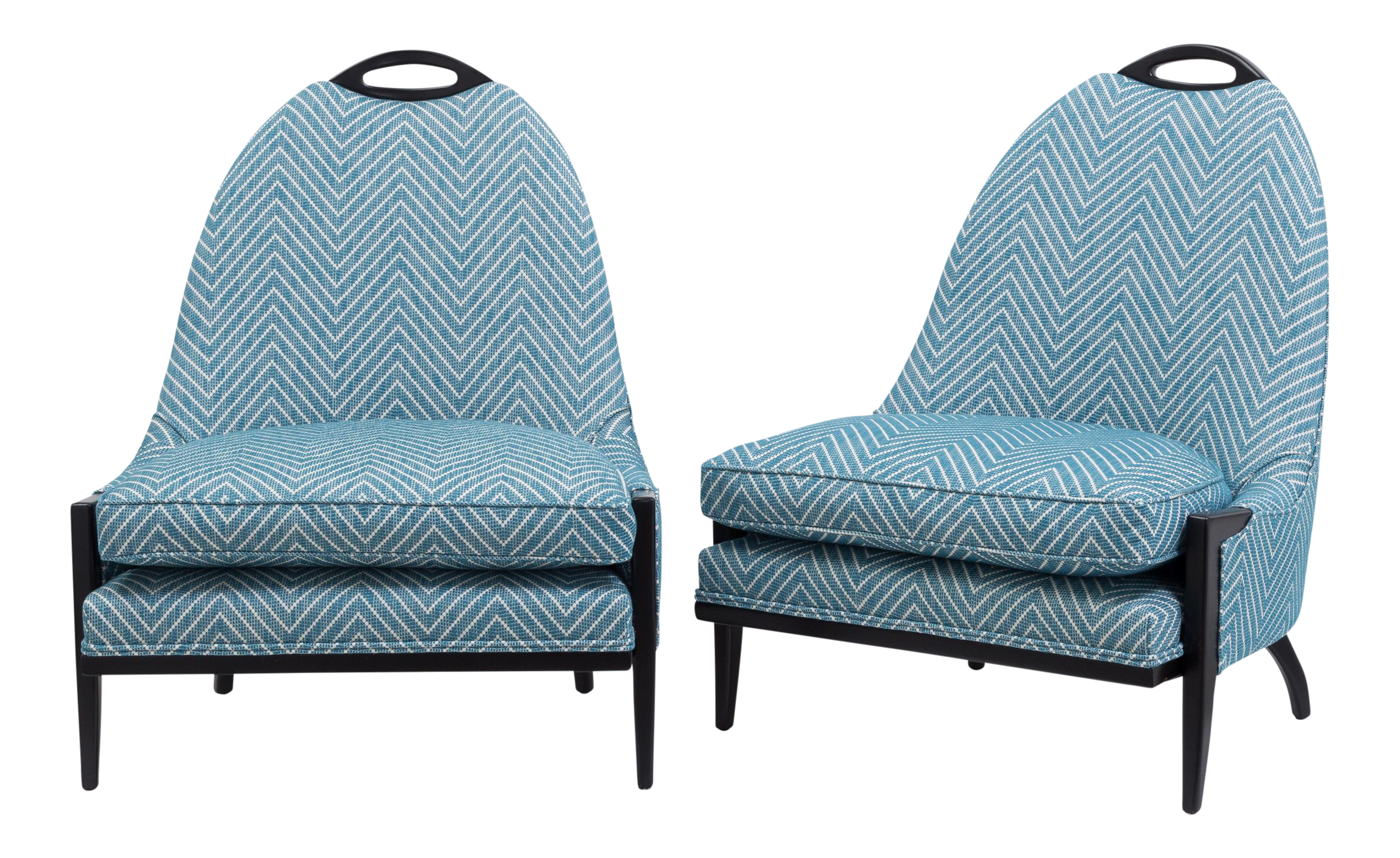 Image of A Pair of Ebonised Framed Upholstered Armchairs 1950s