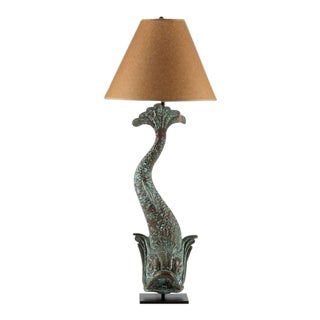 Verdigris Copper Dolphin Waterspout, France c. 1895 Mounted as a Custom lamp