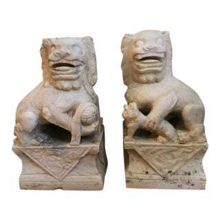 19th Century White Marble Foo Dogs