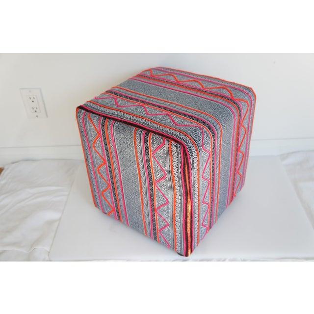 Vintage Hmong Indigo Amp Pink Batik Cube Ottoman Chairish