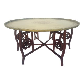 Vintage Asian, Hollywood Regency, Moroccan Style Folding Brass Coffee Table