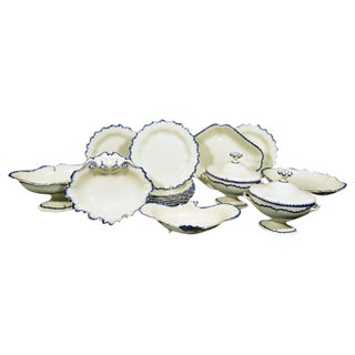 English Pottery Creamware Blue Enamel Shell-edge Dessert Service.