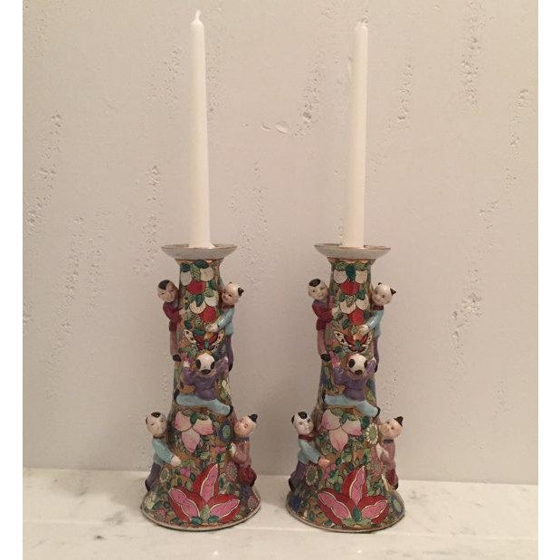 Chinese Fertility Candlestick Holders - Pair - Image 2 of 6