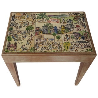 1940's Art Deco Cuban Scenes Tile Lime Wood Table