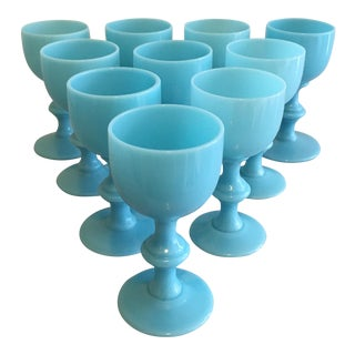 Blue Opaline Cordials, Set of 10