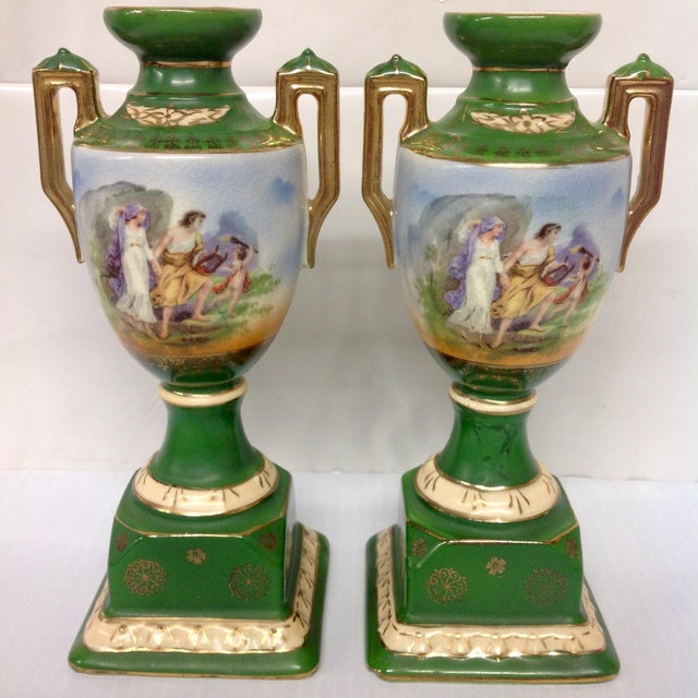 Vintage Erphila Pottery Green Handled Urns - Pair - Image 2 of 6