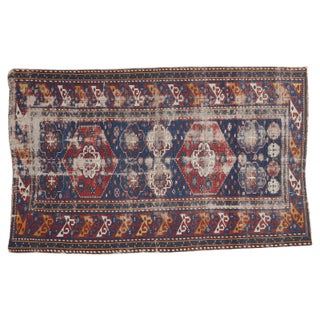 "Distressed Antique Shirvan Rug - 4'1"" X 6'6"""