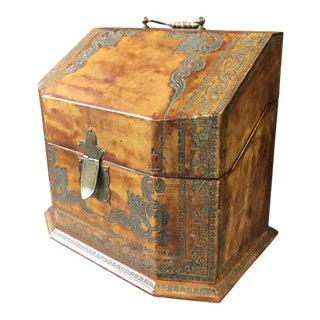 Vintage Tooled Leather Letter Box