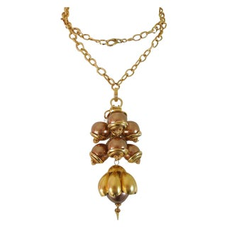 1980s Runway Cocoa Pearls Long Pendant Necklace
