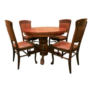 Antique Round Tiger Oak Table & Chairs